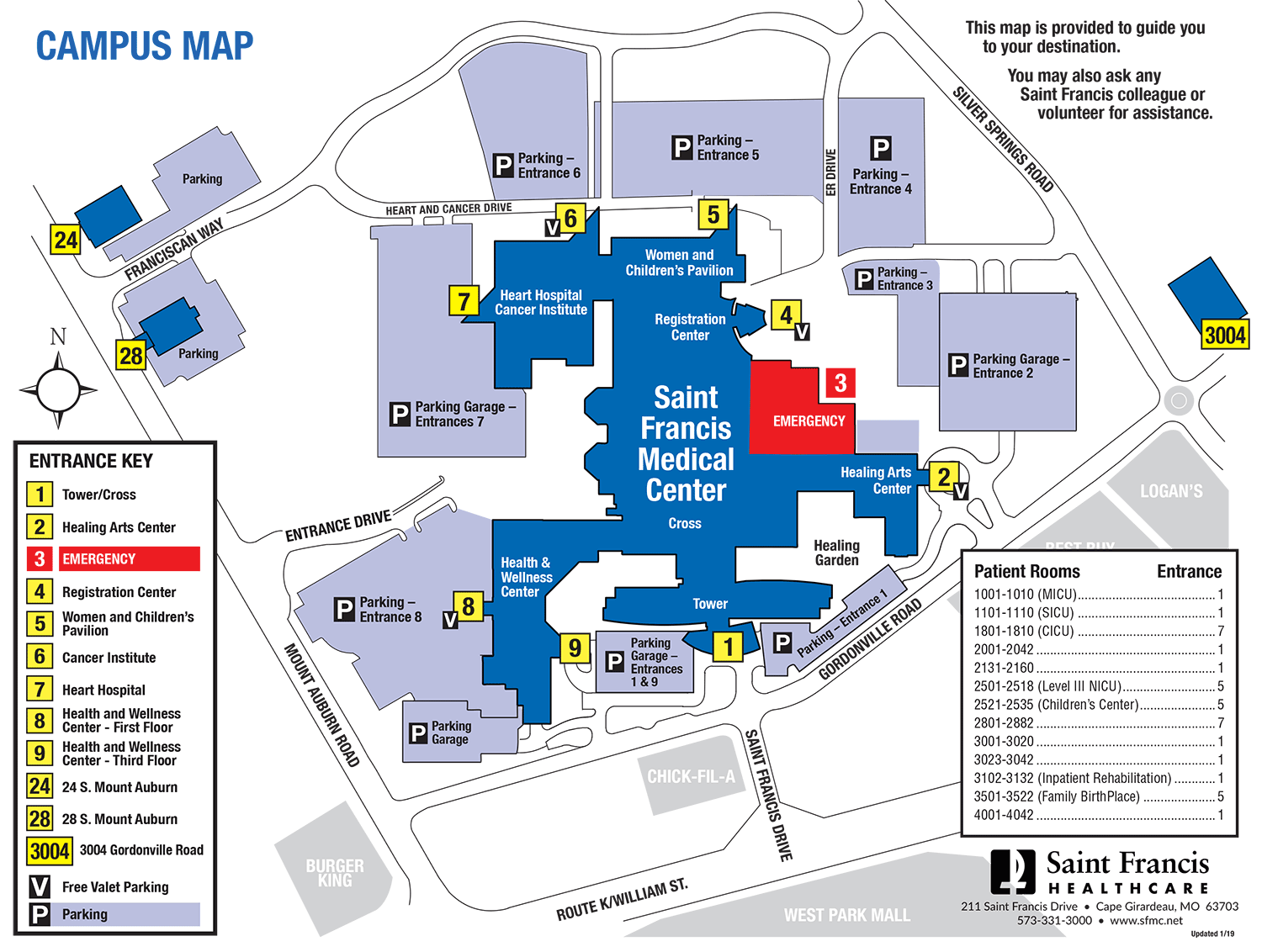 Saint Francis Medical Center campus map