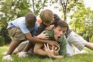boys playing football game