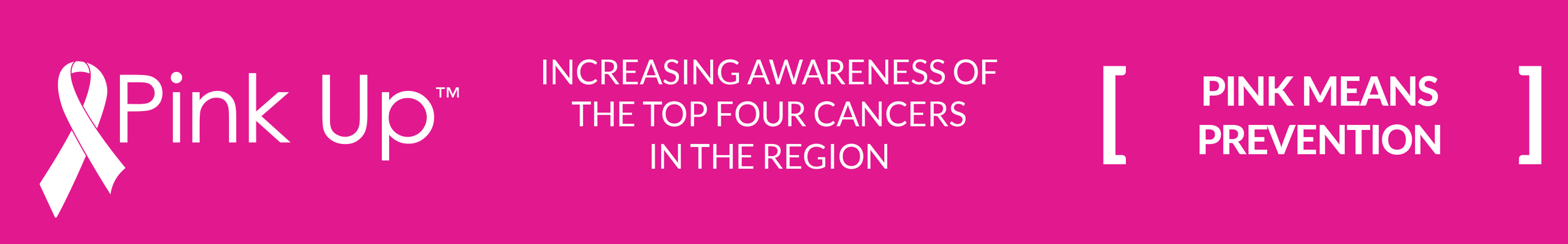 Pink Up - Increasing awareness of the top four cancers in the region. Pink means prevention.