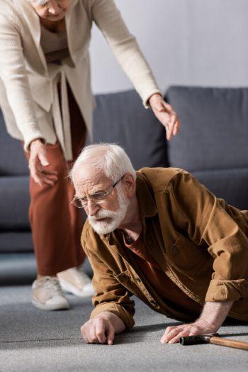 Elderly man who has fallen
