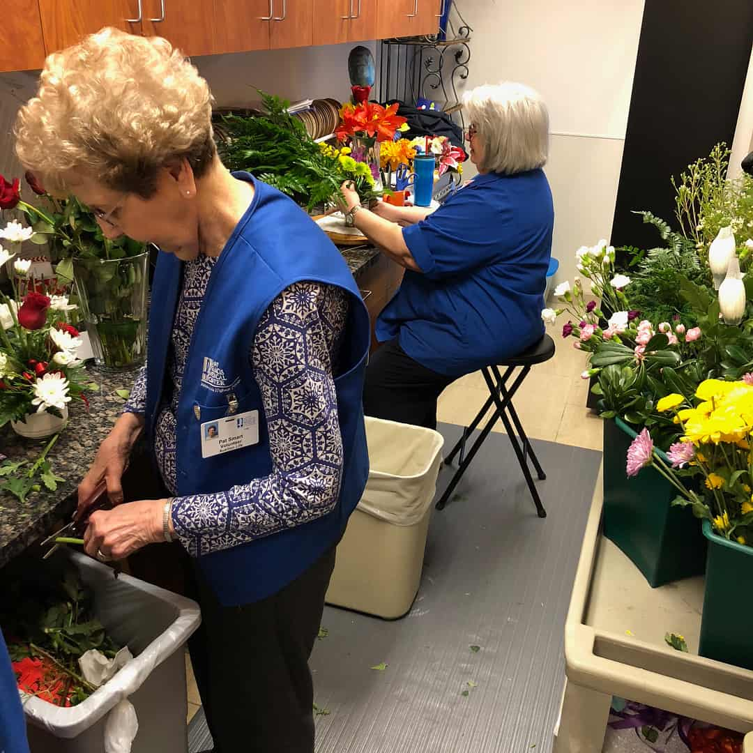 Our florists are hard at work today filling your orders! These ladies have more than 100 years combined experience working with floral arrangements.