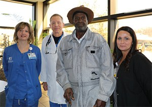 Nurse April Ostendorf, Dr. Charles Pancoast, Dwight Vaughn, and Nurse Tiffany Winter reunite after the emergency team saved Vaughn's life when he had a stroke.