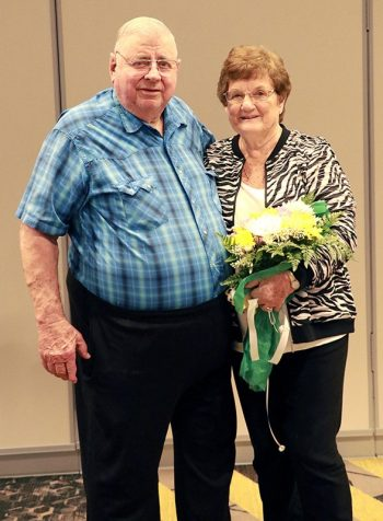 Don and Wilma Heisserer pose after Wilma was named Auxilian of the Year for her outstanding dedication to Saint Francis Healthcare.