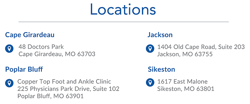 Advanced Orthopedic Specialists locations in Cape Girardeau, Jackson, Poplar Bluff and Sikeston.