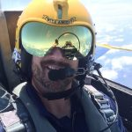 David Enderle snaps a selfie in the back seat of a Navy Blue Angels F/A-18 Hornet