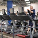 Paul Jones walks on a treadmill at Fitness Plus