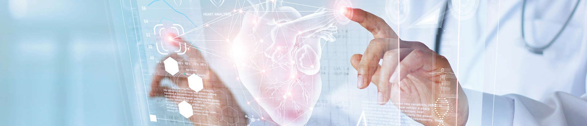 Physician with heart hologram