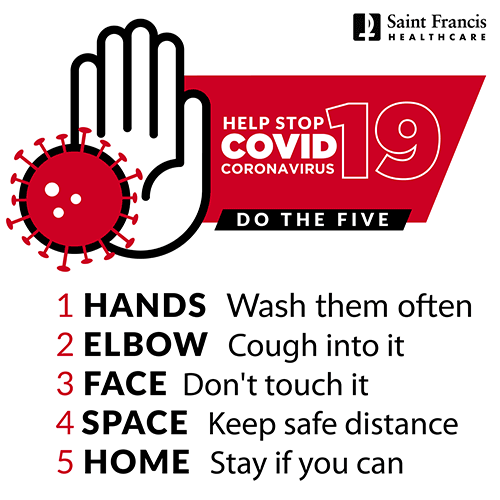 Five steps to help prevent COVID-19 infection - 1. Wash your hands. 2. Cough into your elbow. 3. Don't touch your face. 4. Keep a safe distance from others. 5. Stay home if you can.