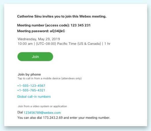 WebEx invitation example
