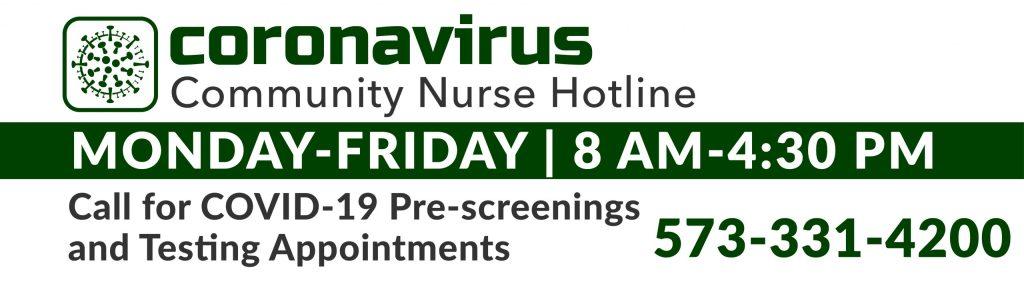 Coronavirus Community Nurse Hotline open 8 am-4:30 pm Monday through Friday