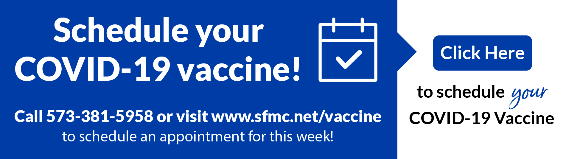 Schedule your COVID-19 vaccine - Click here