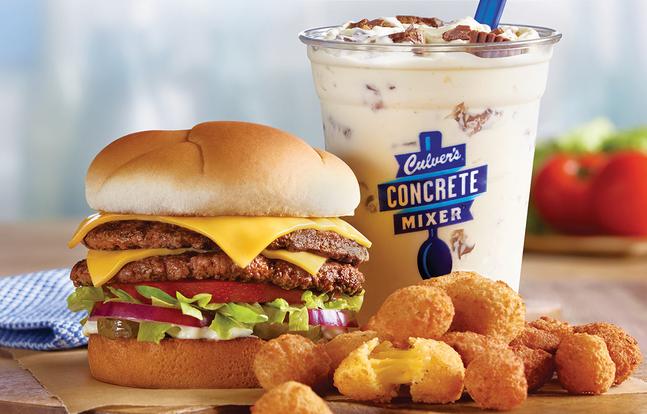 A Culver's cheesburger, cheese curds, and a concrete mixer