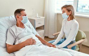A woman visits a patient