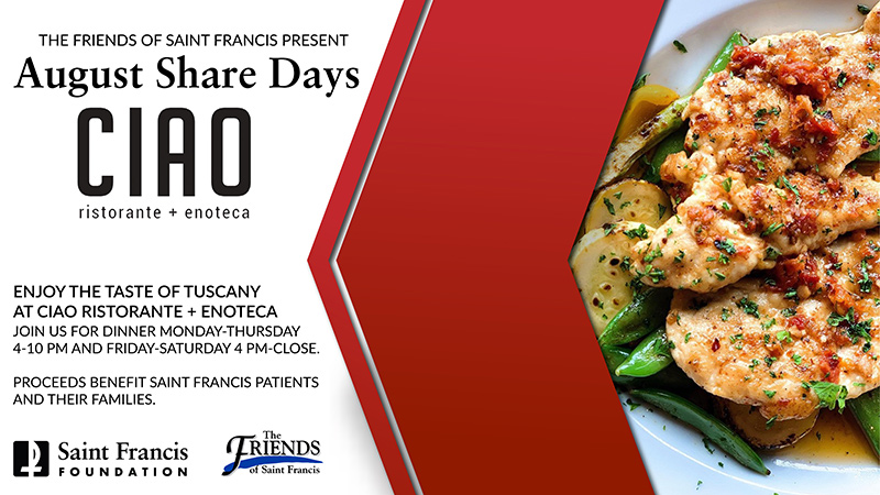 The Friends Share Days partner for August is Ciao Ristorante + Enoteca